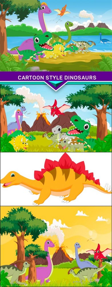 Cartoon style dinosaurs 4x EPS