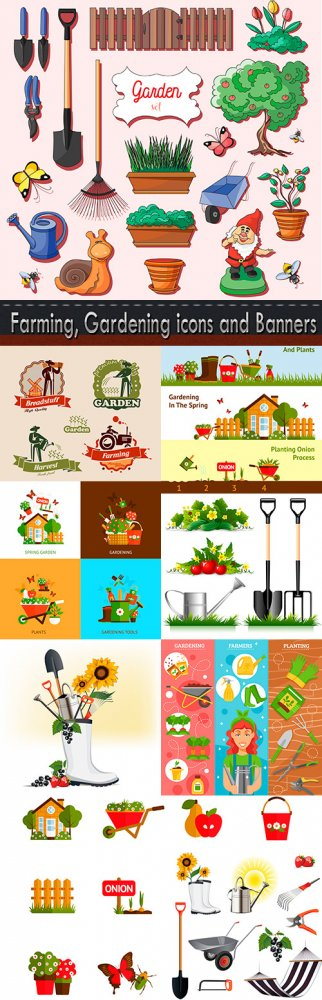 Farming, Gardening icons and Banners set