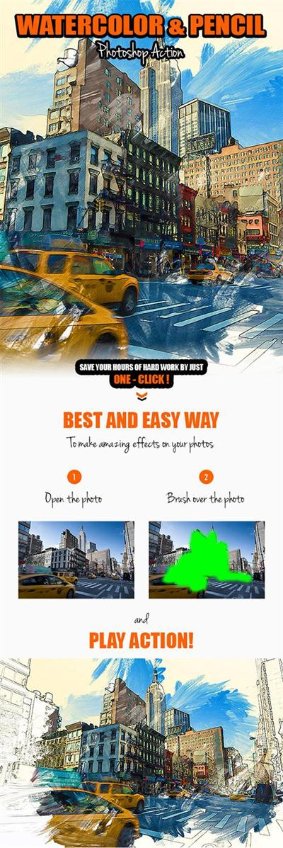 GraphicRiver - Watercolor & Pencil Photoshop Action 16578913