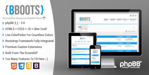 BBOOTS - HTML5/CSS3 Fully Responsive phpBB3.1 Theme