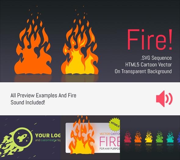 Cartoon Vector Fire - HTML5 Edge Banner Animation