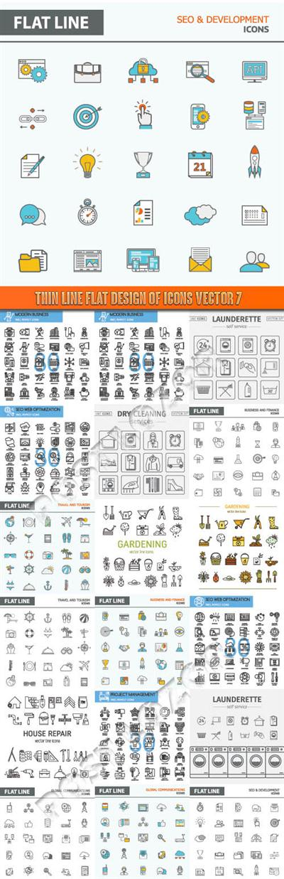 Thin line flat design of icons vector 7