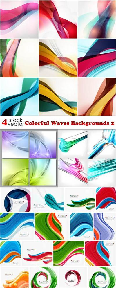 Vectors - Colorful Waves Backgrounds 2
