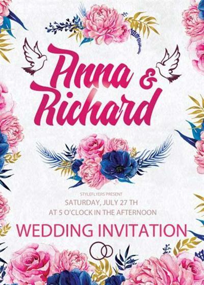 Wedding Invitation V7 PSD Flyer Template