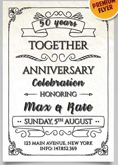 Anniversary Invitation Flyer V1 PSD Template + Facebook Cover