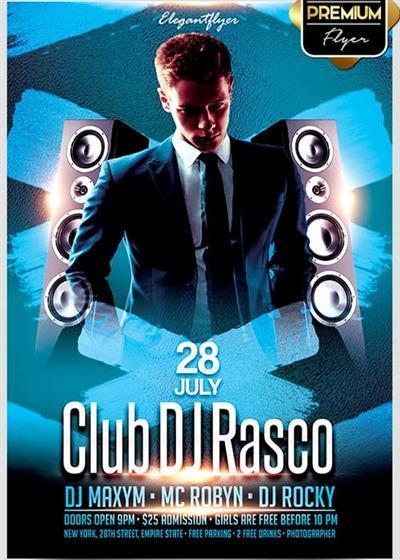 Club DJ Rasco V1 Flyer PSD Template + Facebook Cover