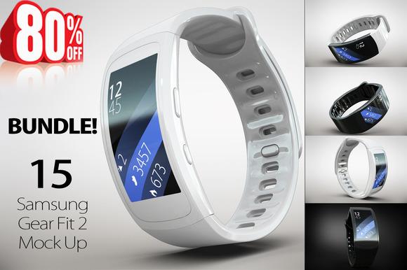 CreativeMarket - BUNDLE Samsung Gear Fit 2 Mock Up