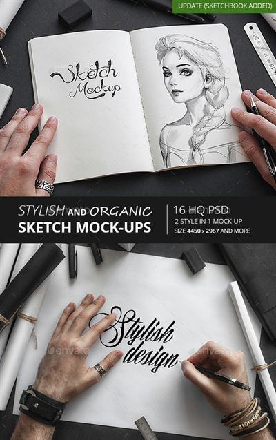 GraphicRiver - Stylish and Organic Sketch Mock-Up