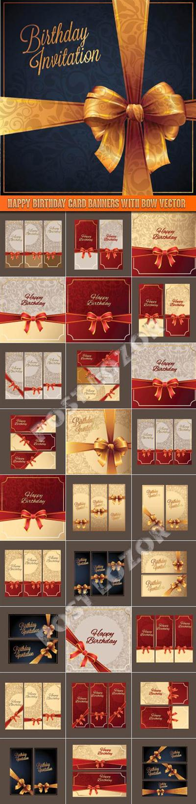 Happy Birthday card banners with bow vector