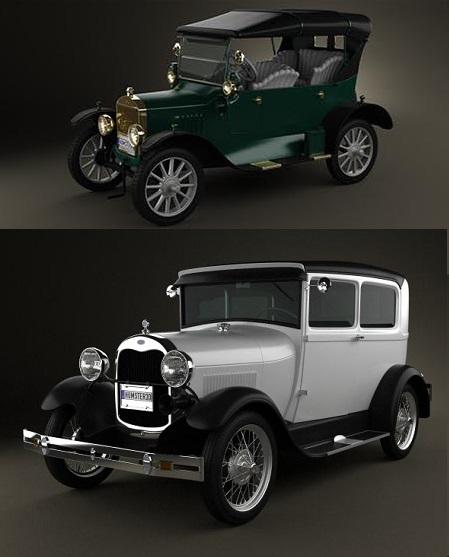 Hum3D: Ford Model A Tudor 1929 and Ford Model T 4door Tourer 1924