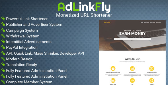 AdLinkFly v2.5.1 - Monetized URL Shortener