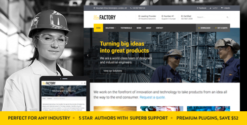 Nulled Factory v1.3 - Industrial Business WordPress Theme