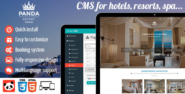 Panda Resort 2 - CMS for hotel - Booking system