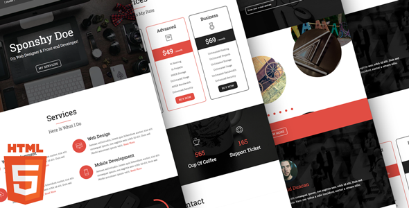 nulled sponshy  u2013 html5    css3 resume template