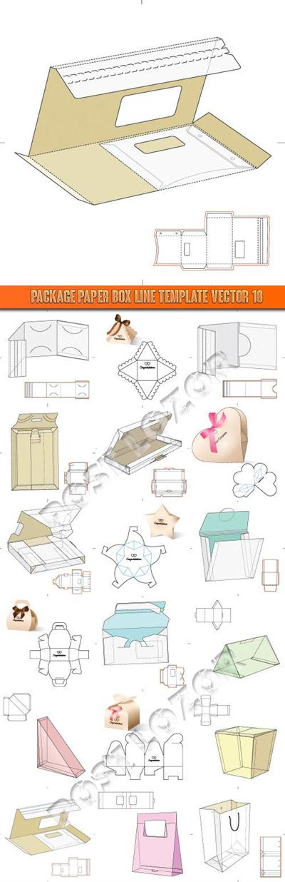 Package paper box line template vector 10