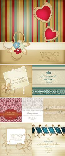 Stock vectors template for wedding background with lace