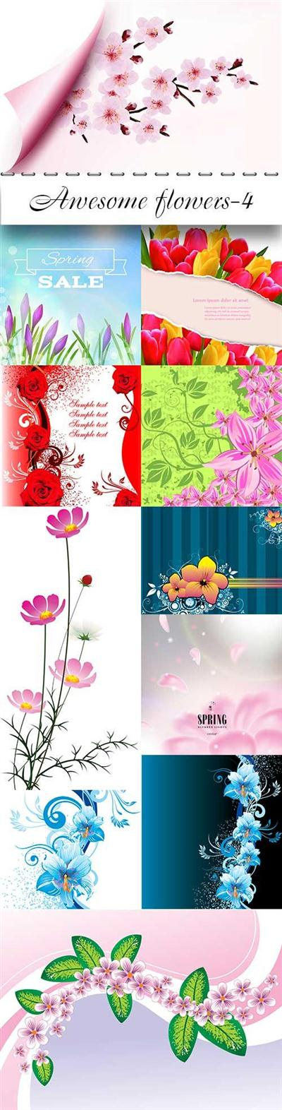 Awesome vector flowers-4