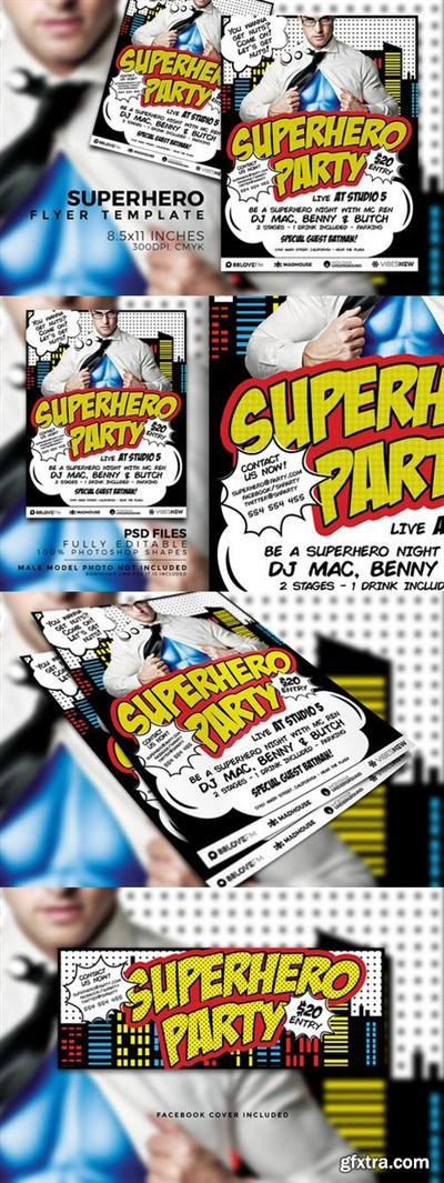 CM - Superhero Party Flyer Template 730673
