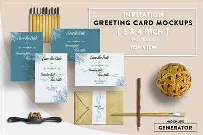 CreativeMarket - Invitation Greeting Card Mockups 6x4