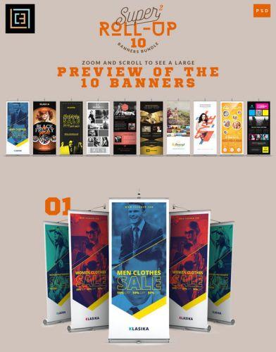 CreativeMarket - Super 2 - Roll-Up Banners Bundle