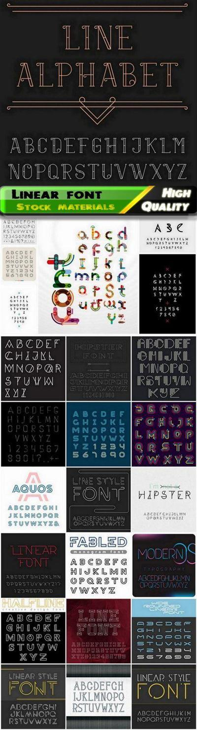 Linear font and alphabet letter and number - 25 Eps