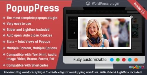 Nulled PopupPress v2.5.4 - Popups with Slider & Lightbox for WP snapshot