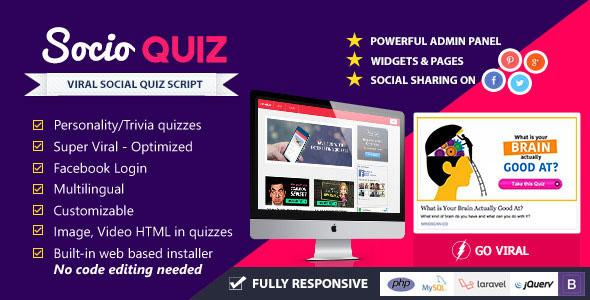 SocioQuiz v1.1.2 - Viral Quiz website with Facebook login