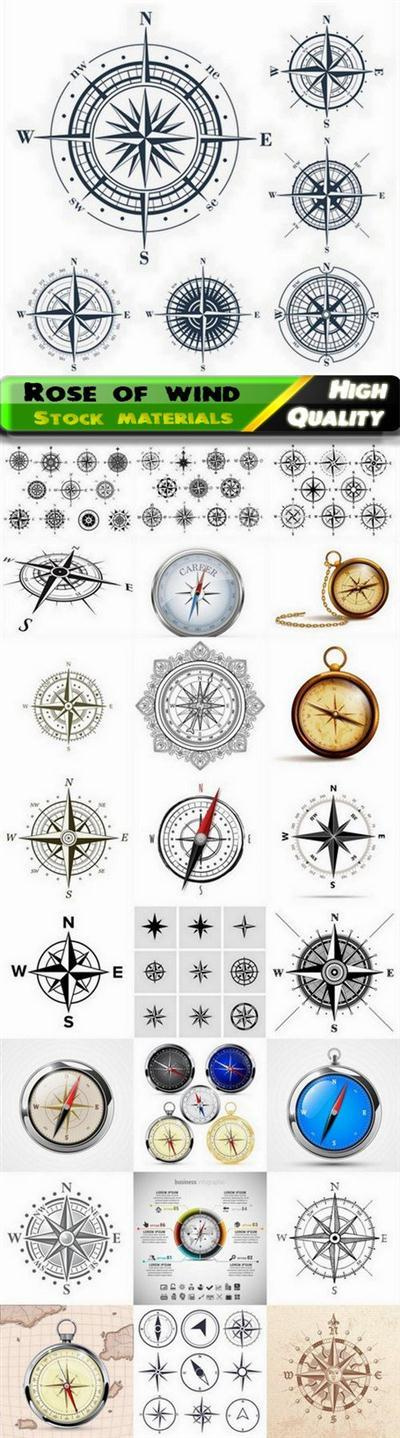 Rose of wind and compass with eight-pointed star - 25 Eps