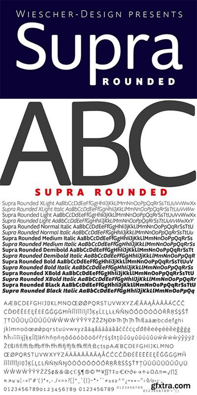 Supra Rounded Font Family - 16 Fonts $199
