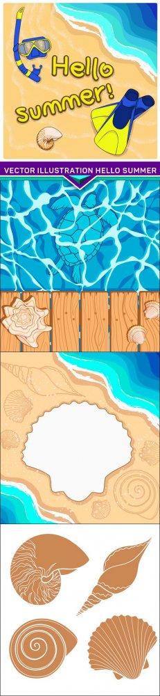 Vector illustration hello Summer 4X EPS