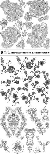 Vectors - Floral Decoration Elements Mix 6