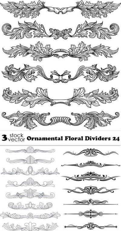 Vectors - Ornamental Floral Dividers 24