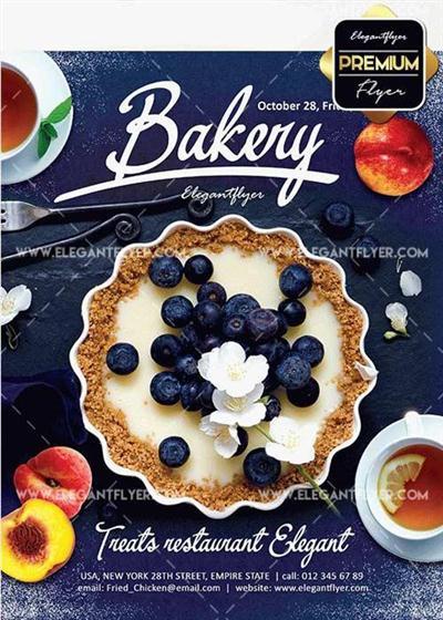 Bakery Promotion V4 Flyer PSD Template + Facebook Cover