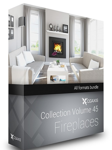 CGAxis Models Volume 45 3D Fireplaces + Render Scene