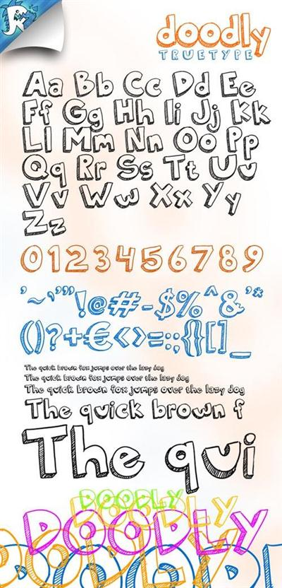 Doodly TrueType - Awesome doodle font 114161