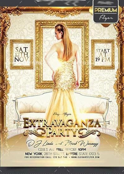 Extravaganza Party Flyer PSD V1 Template + Facebook Cover