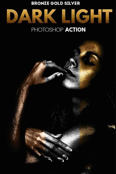 GraphicRiver - Dark Light Effect with Gold Silver and Bronze Skin Photoshop Action