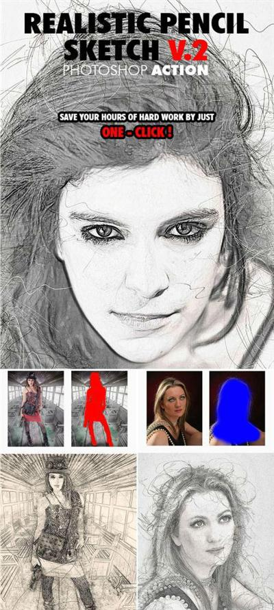 Realistic pencil sketch v 2 photoshop action 17830959