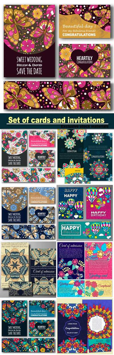 Set of cards for congratulations and invitations