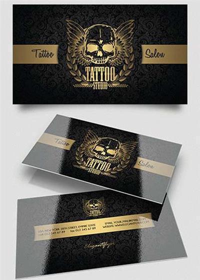 Tattoo Salon PSD V11 Business Card Templates