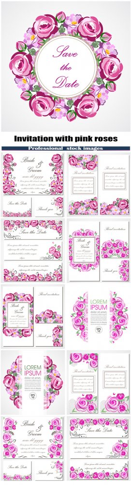 Vector invitation card with pink roses for wedding