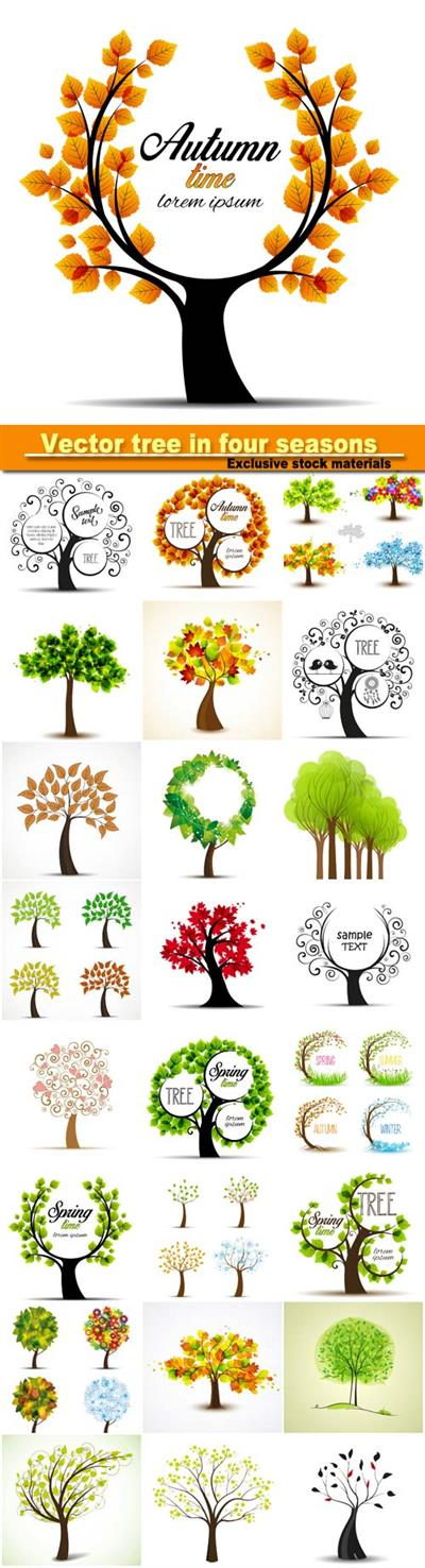 Vector tree in four seasons - spring, summer, autumn, winter