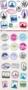 Vectors - Colorful Landmark Stamps 6