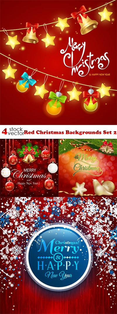 Vectors - Red Christmas Backgrounds Set 2