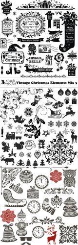 Vectors - Vintage Christmas Elements Mix 5