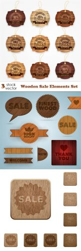 Vectors -- Wooden Sale Elements Set