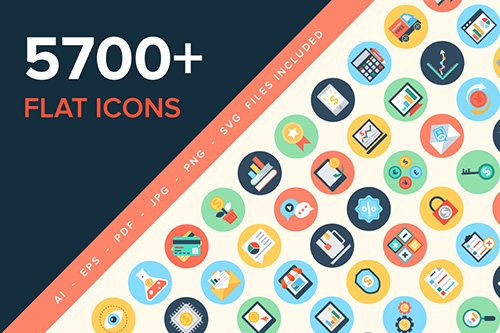 5700+ Flat Icons - Flat vector icons in 40 categories