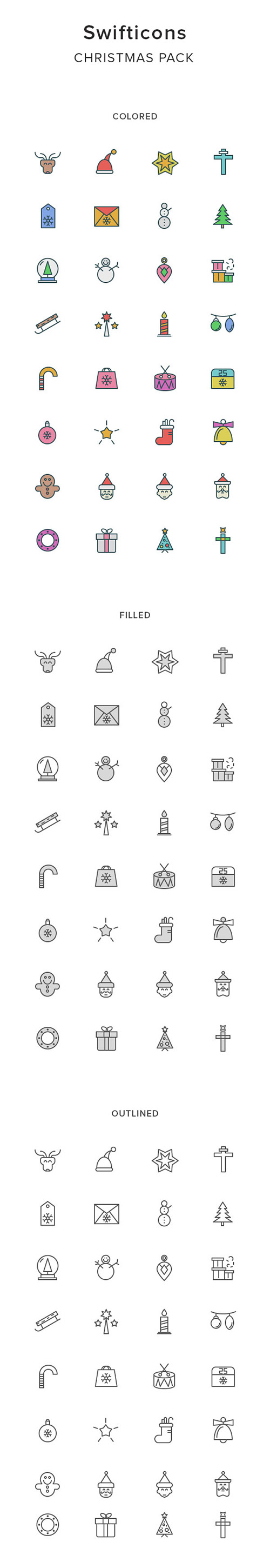 AI, EPS, PNG, SKETCH, SVG Vector Icons - Christmas And New Year 2017
