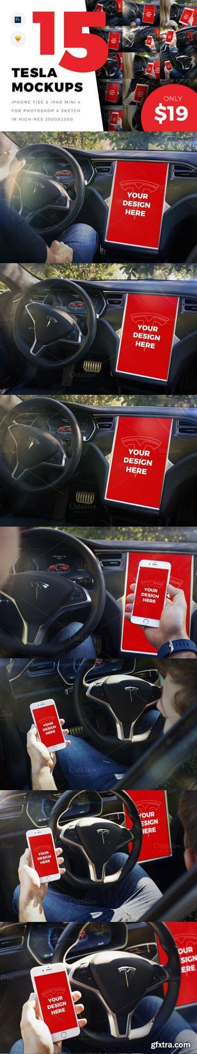 CM - 15 Tesla Mockups (iPhone 7/SE, iPad) 966935