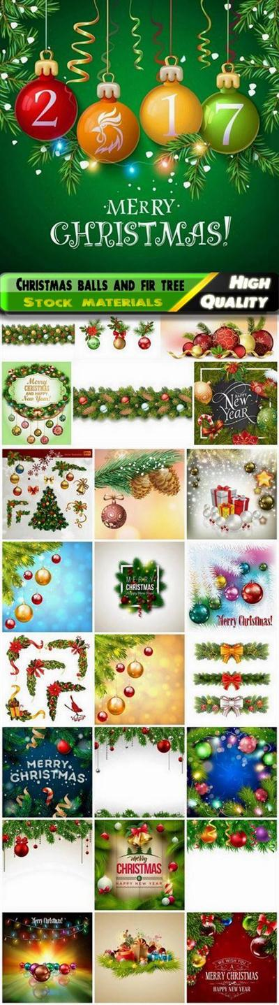 Christmas balls and fir tree branches for holiday card decor - 25 Eps